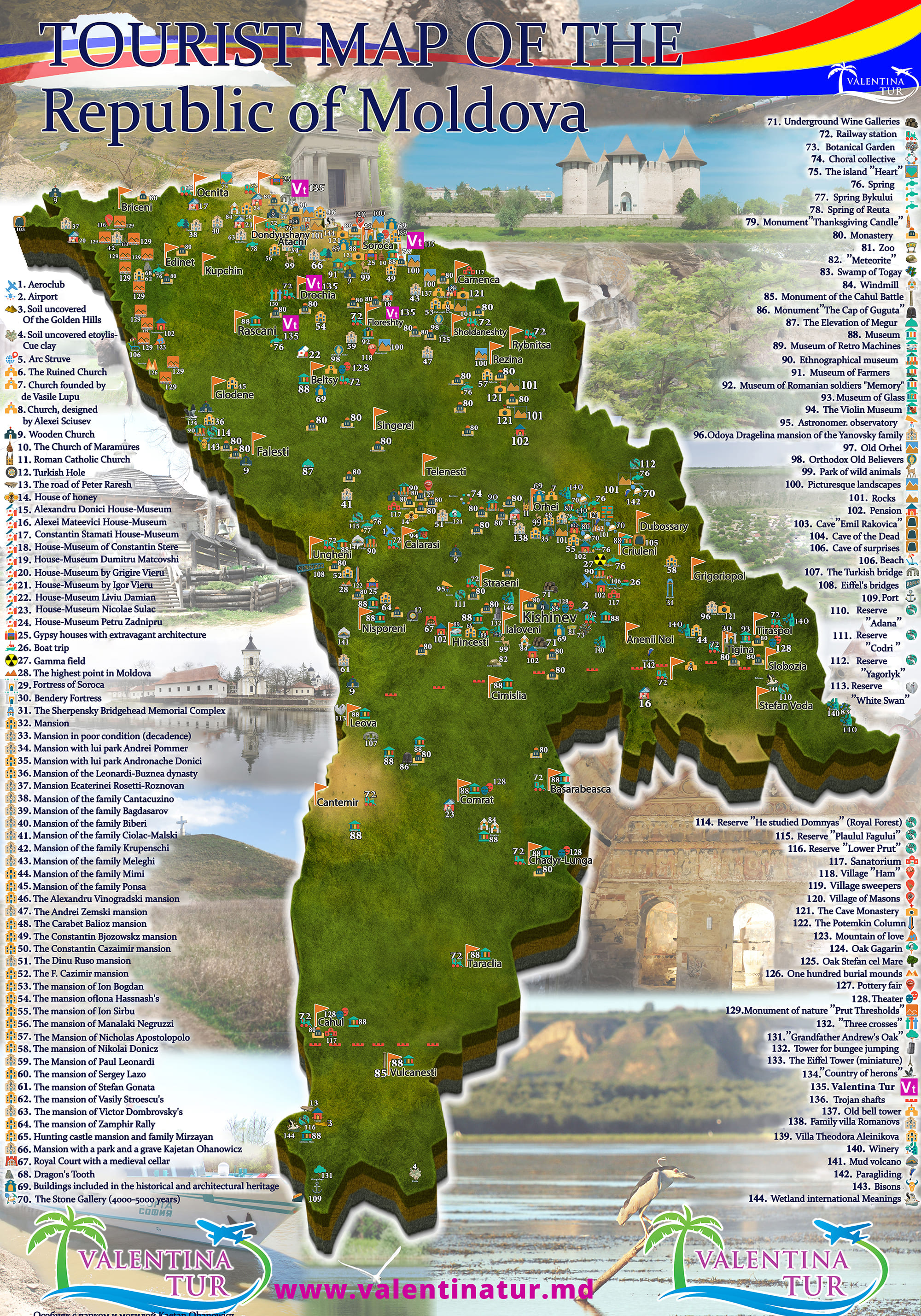 Tourist Map Of The Republic Of Moldova