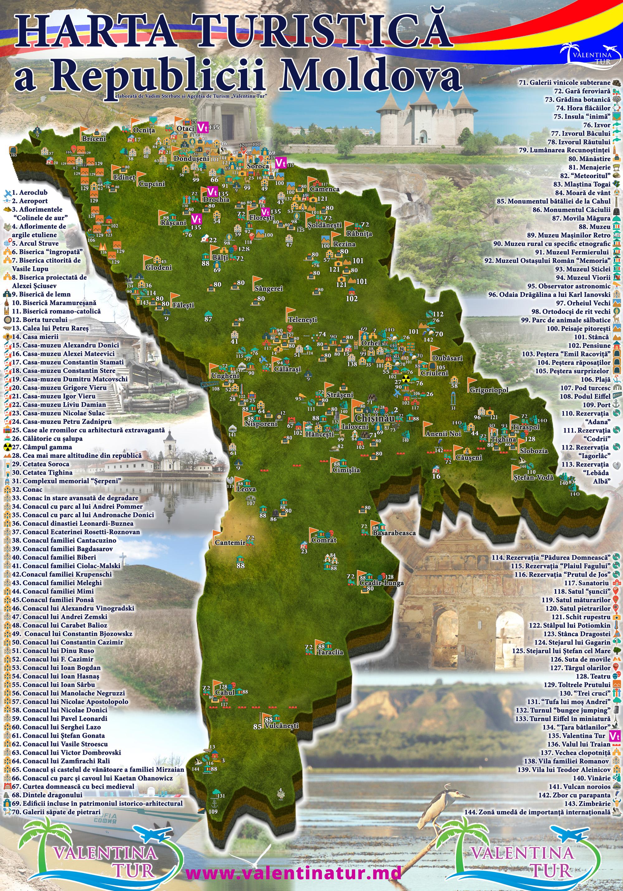 Harta Turistica A Republicii Moldova In Format Digital Pentru